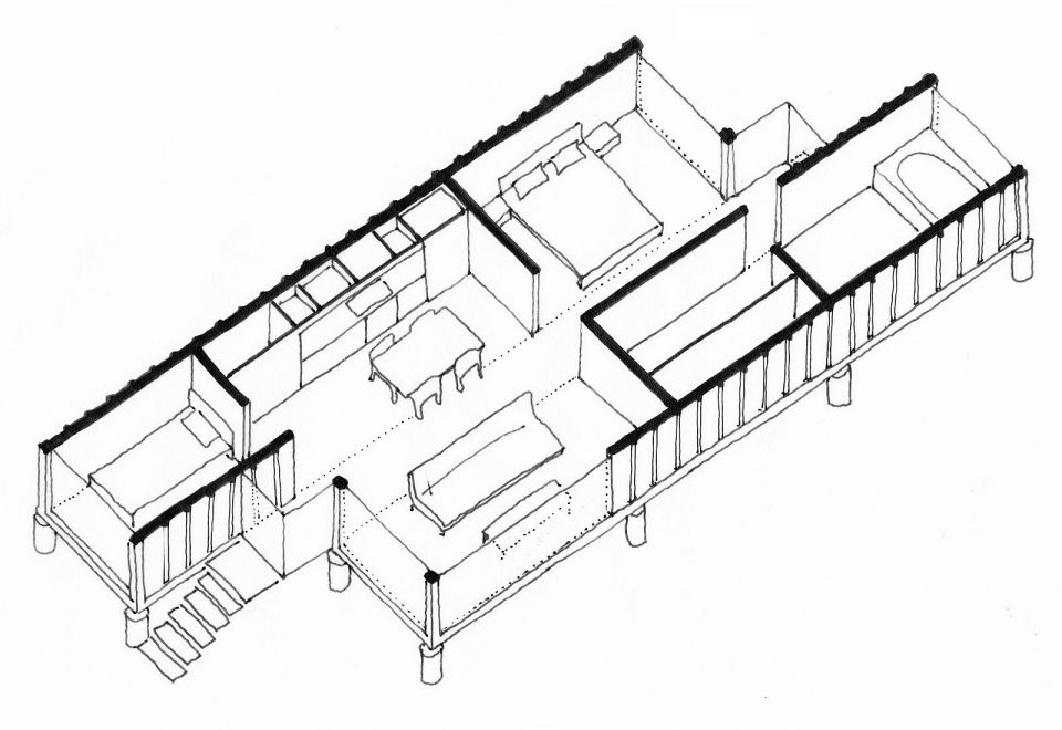 Containers of hope a low cost home by benjamin garcia for Shipping container cabin floor plans