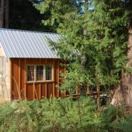 Tiny rustic cabin, exterior with fiberglass wall