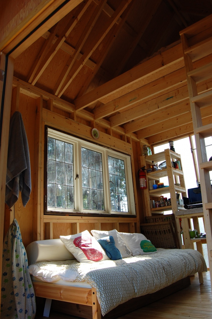 Tiny rustic cabin interior small house bliss for How to build a small cabin with a loft