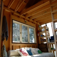 Tiny rustic cabin, interior