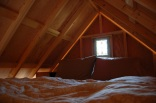 Tiny rustic cabin, sleeping loft