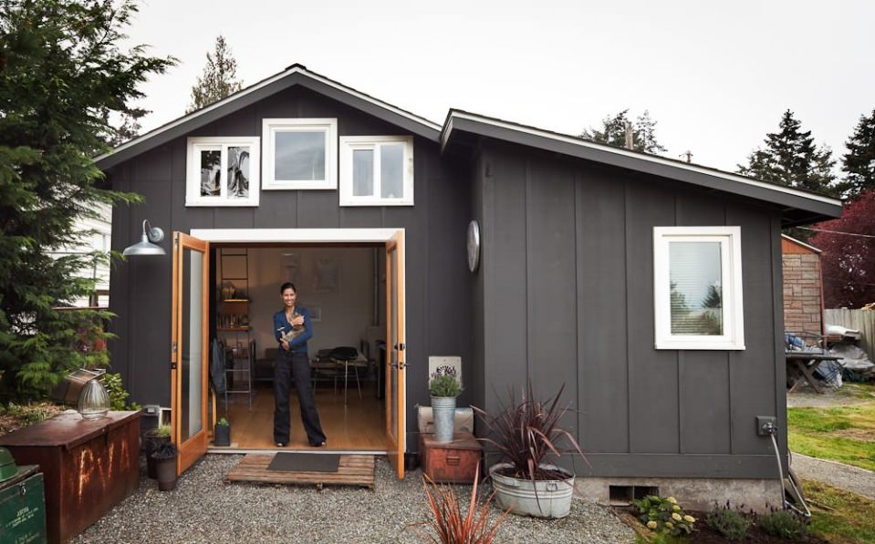 Garage conversion into tiny house michelle de la vega for Small house over garage plans