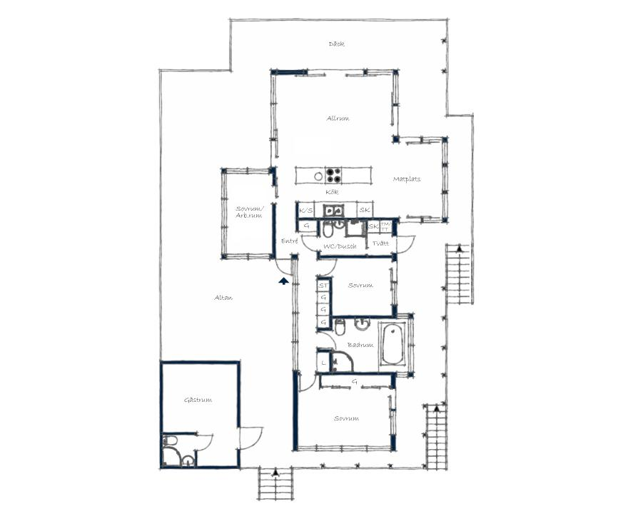 A small house for a family in Sweden with 3 bedrooms in 1,281 sq ft. | www.facebook.com/SmallHouseBliss