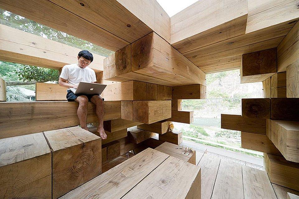 "Final Wooden House, an unusual ""log cabin"" by architect Sou Fujimoto   www.facebook.com/SmallHouseBliss"