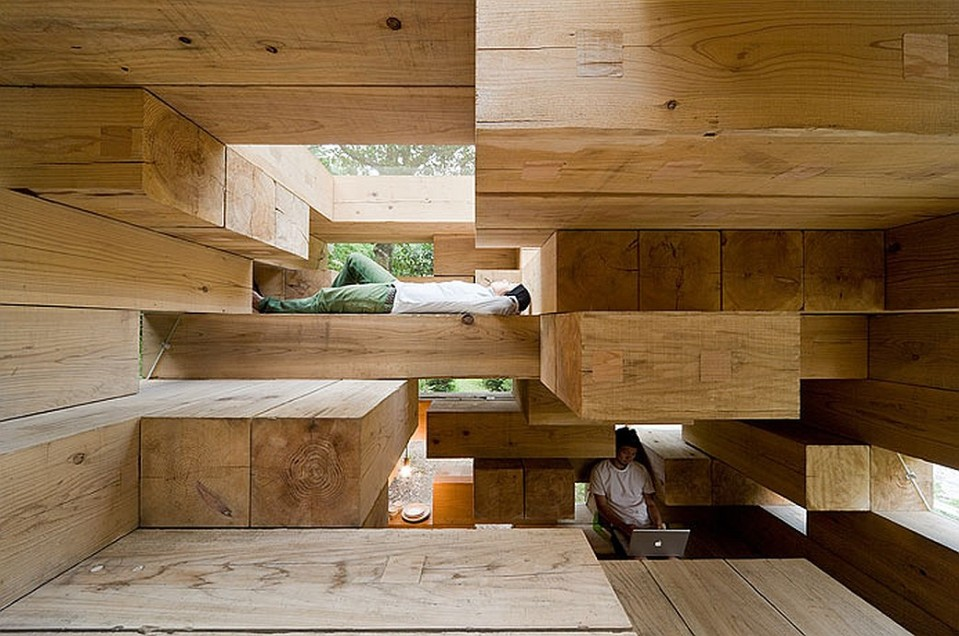 "Final Wooden House, an unusual ""log cabin"" by architect Sou Fujimoto 