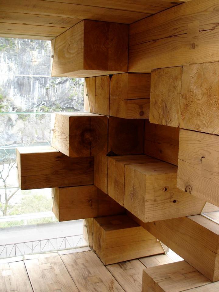 "Final Wooden House, an unusual ""log cabin"" by architect Sou Fujimoto | www.facebook.com/SmallHouseBliss"