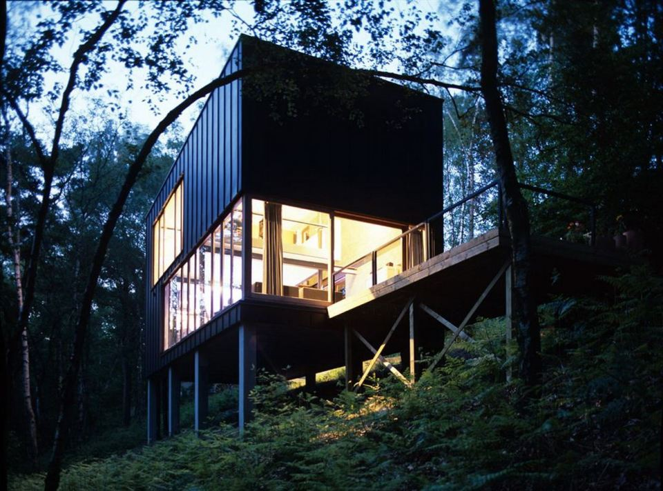 A small modern house in the woods with an urban loft design. | www.facebook.com/SmallHouseBliss