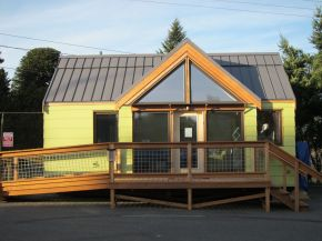 The Mini-B, a tiny house built to the Passive House standard for ultra-high energy-efficiency. It is a 300 sq ft studio with a sleeping loft. | www.facebook.com/SmallHouseBliss