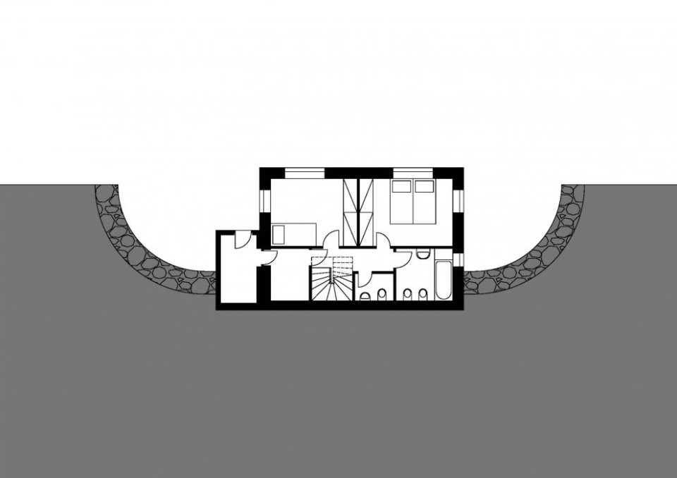 The reverse floor plan allows the living area of this small house to have southern exposure. It has 2 bedrooms in 936 sq ft. | www.facebook.com/SmallHouseBliss