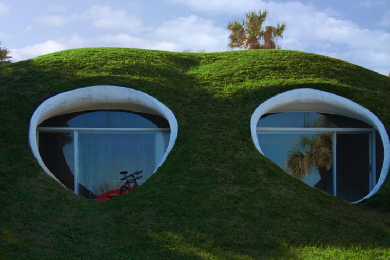 The Dune House, an earth-sheltered duplex. Each unit has 1 bedroom in 750 sq ft. | www.facebook.com/SmallHouseBliss