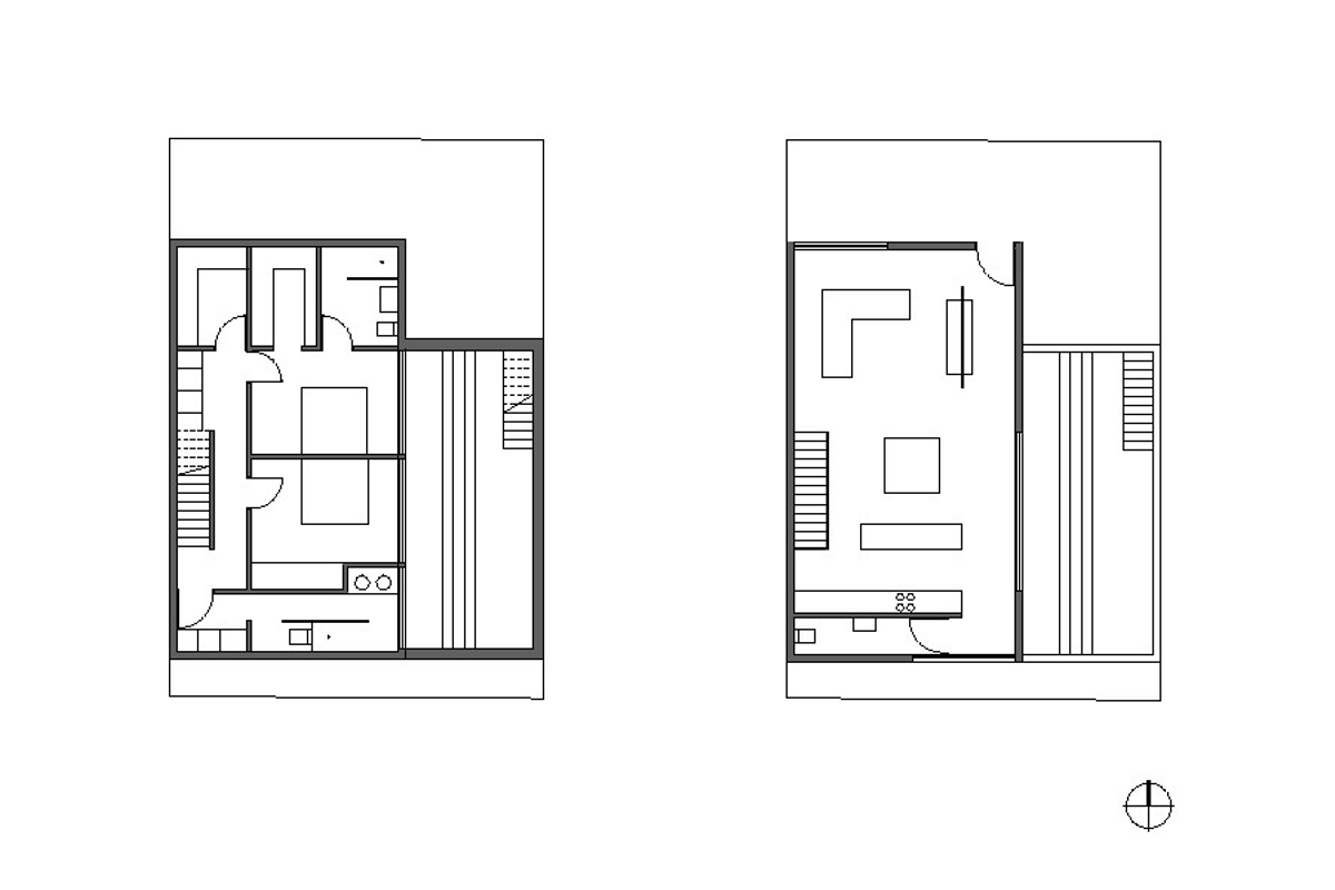 Gallery small house with a sunken patio by gestalten Floor plan design for small houses