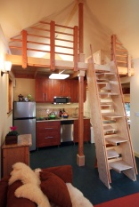 Karen's backyard cottage has 265 sq ft of living space plus a sleeping loft. | www.facebook.com/SmallHouseBliss