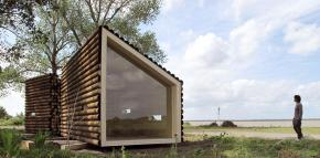 Flake House, a tiny modern cabin in two parts totaling 237 sq ft. | www.facebook.com/SmallHouseBliss