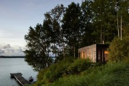 """Sunset Cabin, a 275 sq ft studio cabin, is a refined version of the traditional cottage country """"bunkie"""". 