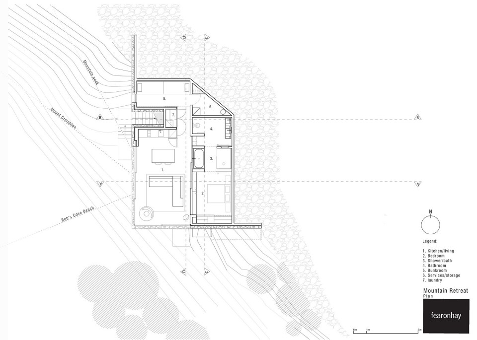 Mountain Retreat, a modern cabin by Fearon Hay, floor plan