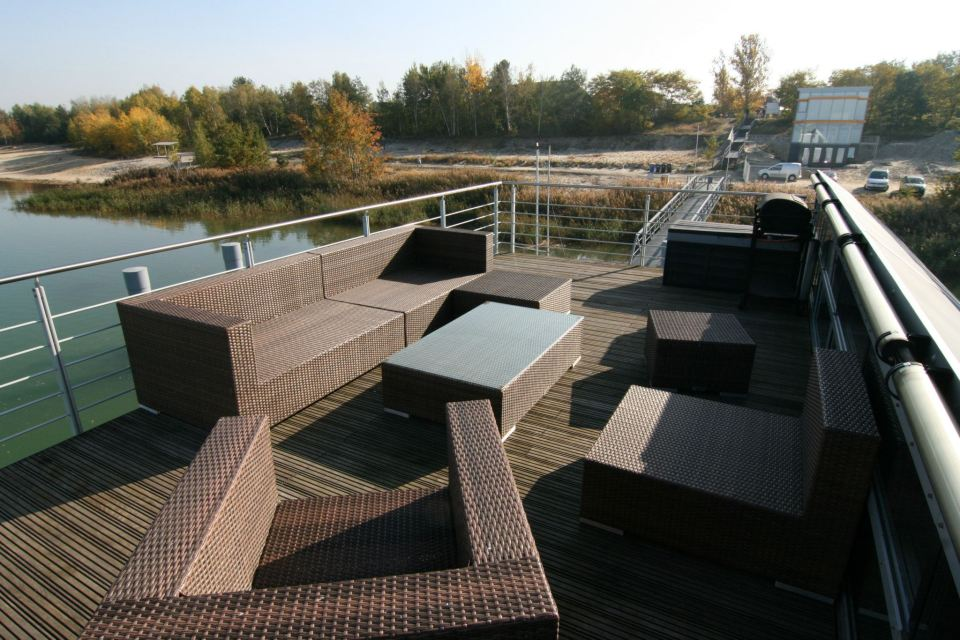 A striking contemporary float home with 2 bedrooms in 1,044 sq ft. | www.facebook.com/SmallHouseBliss