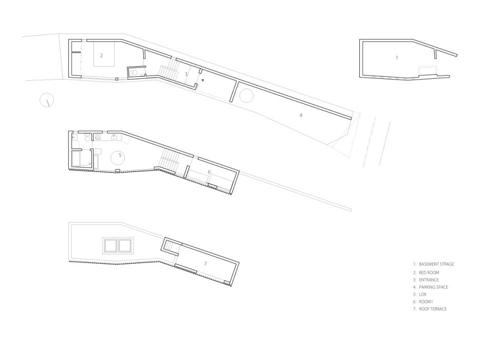 Floor plan of the House in Inokashira by Studio NOA