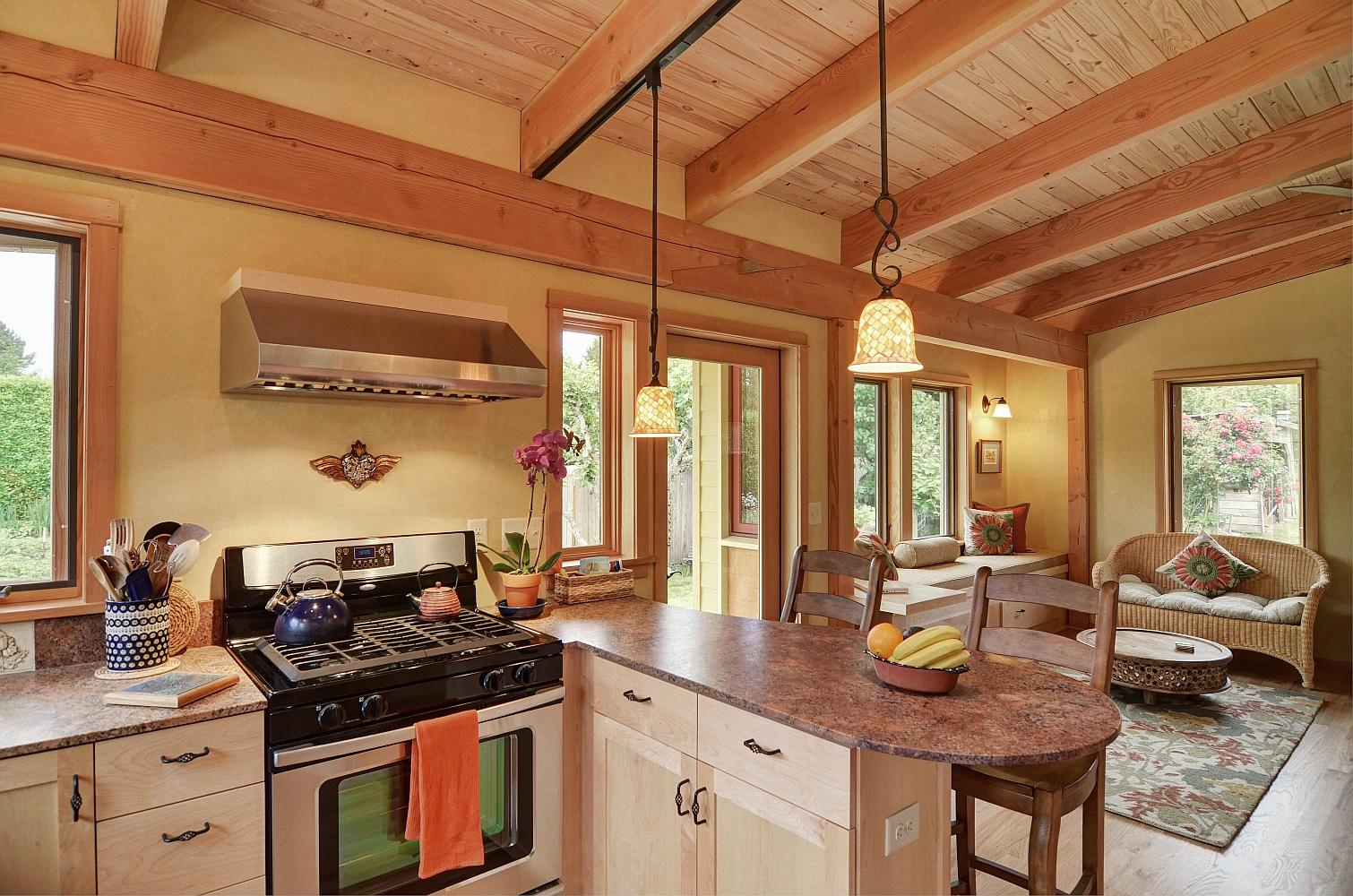 Gallery river road house a beautiful timber frame for Small house plans with big kitchens