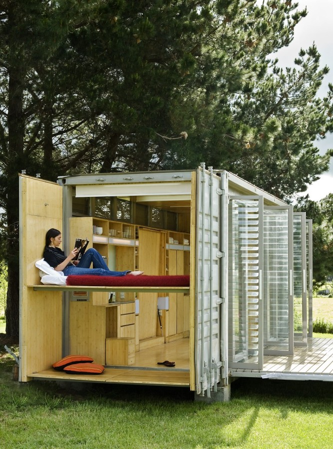 Port-a-Bach, a shipping container cabin by Bonnifait + Giesen | www.facebook.com/SmallHouseBliss