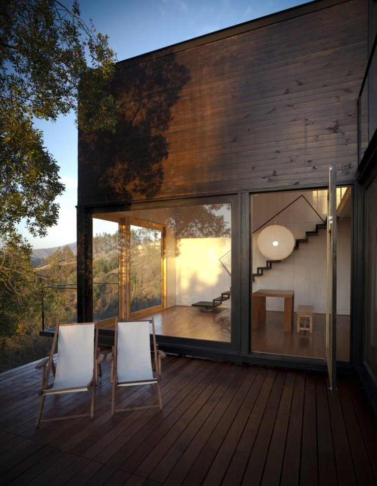 Refugio Pangal, a simple modern cabin in Chile with one bedroom and a loft in 646 sq ft.   www.facebook.com/SmallHouseBliss