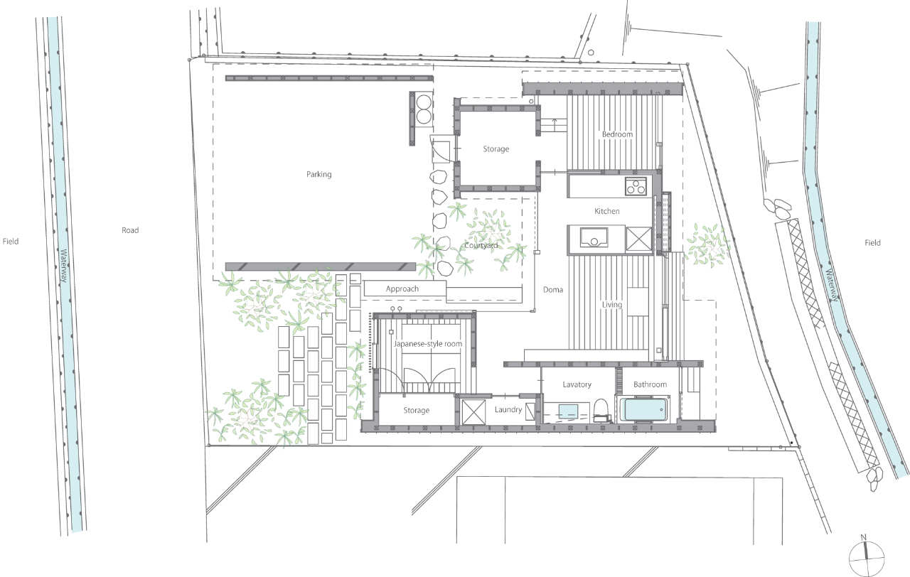 Gallery a modern japanese courtyard house mitsutomo for Courtyard house plans