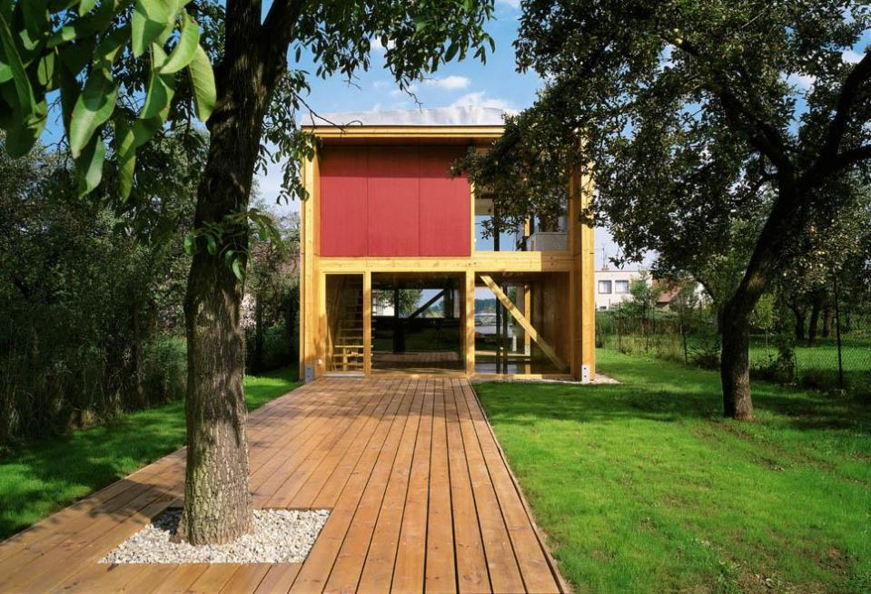 This modern timber-framed house was kept small with a simple design to meet a limited budget. | www.facebook.com/SmallHouseBliss