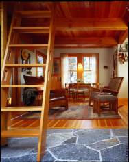 This small cabin in the woods on Orcas Island has a 350 sq ft ground floor plus a sleeping loft. | www.facebook.com/SmallHouseBliss