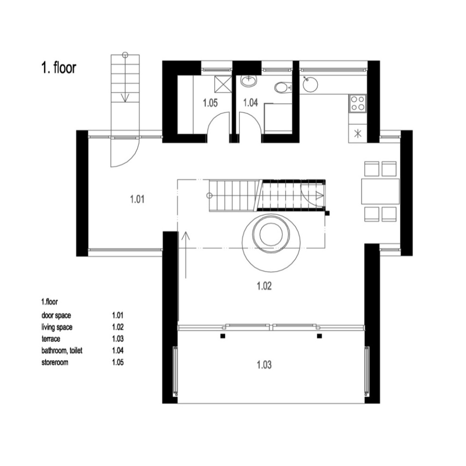 floor plan of a small contemporary cottage in Stribrna Skalice by Prodesi