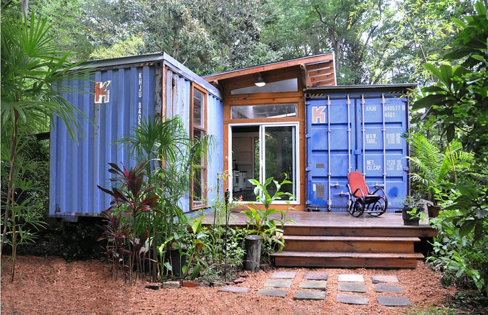The Savannah Project, an artist's home and studio built from a pair of repurposed shipping containers. | www.facebook.com/SmallHouseBliss