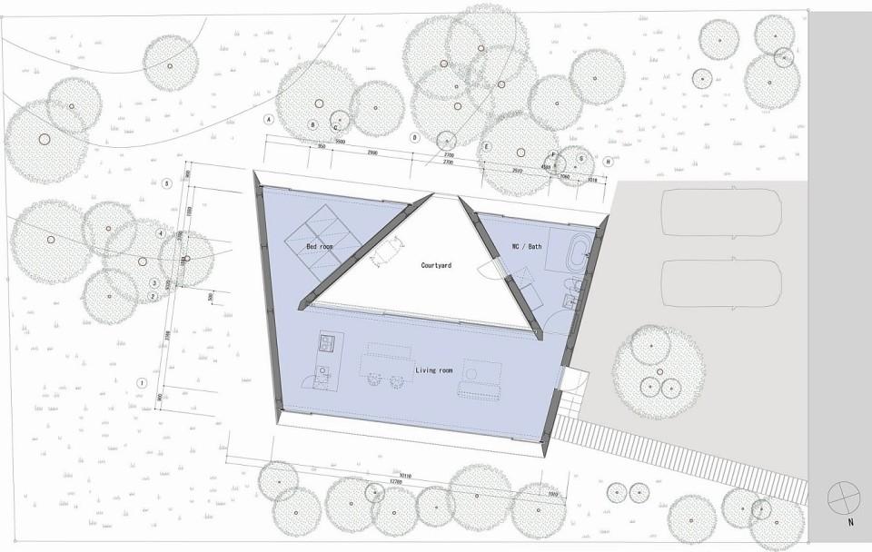 floor plan of Forest Bath by Kyoko Ikuta and Katsuyuki Ozeki