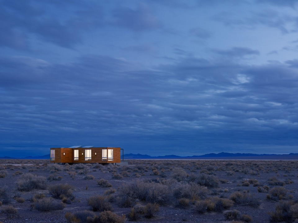 This prefab retreat in the Nevada desert has no air conditioning, using only passive strategies to keep cool. It has 3 bedrooms in 1,200 sq ft. | www.facebook.com/SmallHouseBliss