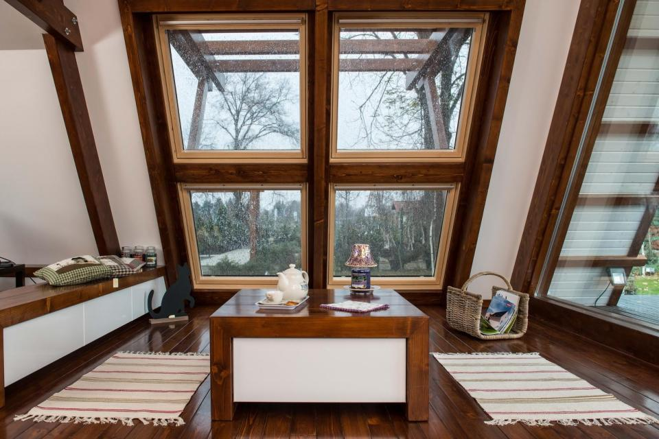 The Soleta zeroEnergy One, an eco-friendly modular house with an unusual gambrel roof design. It has 614 sq ft with a lofted bedroom. | www.facebook.com/SmallHouseBliss