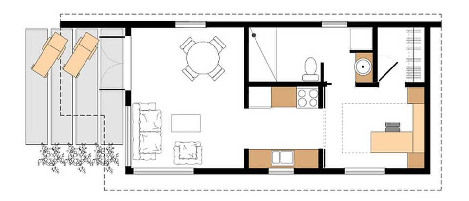 Gallery studio37 a modern prefab cottage small modern for Backyard cottage floor plans