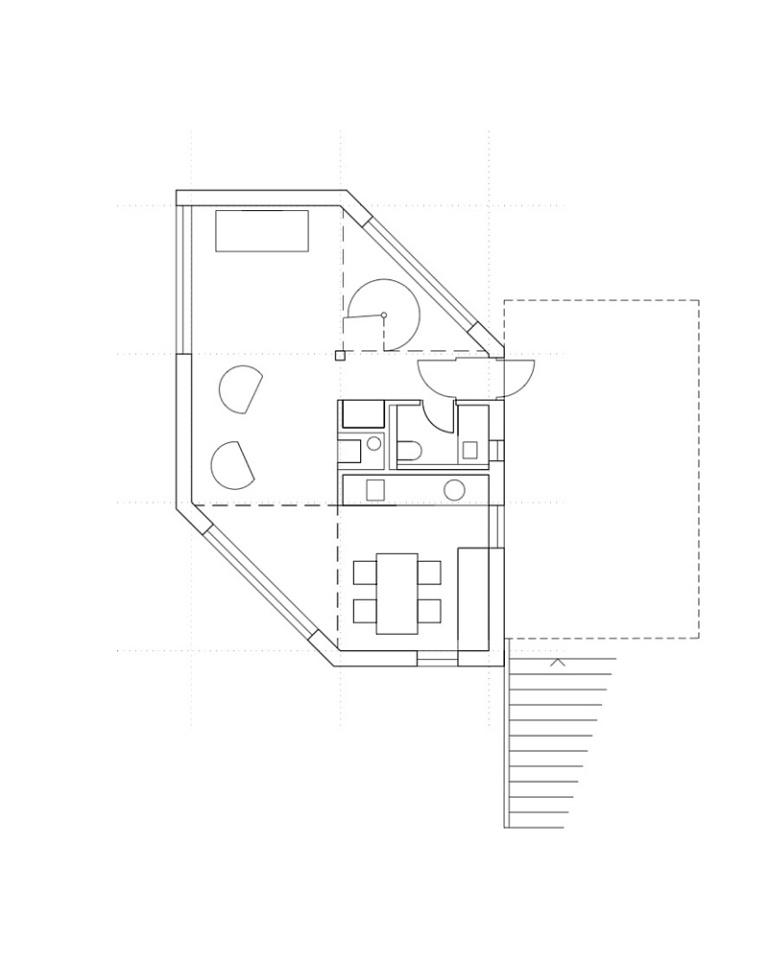 A hexagon-shaped plan was chosen to maximize views and daylight in this small house that has 2 bedrooms in 1,012 sq ft. | www.facebook.com/SmallHouseBliss