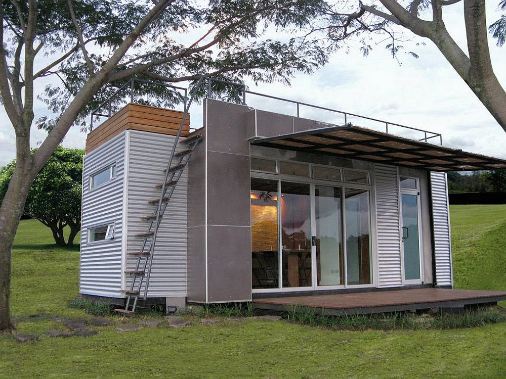 The Casa Cbica vacation home, built from a 20' shipping container, sleeps  up