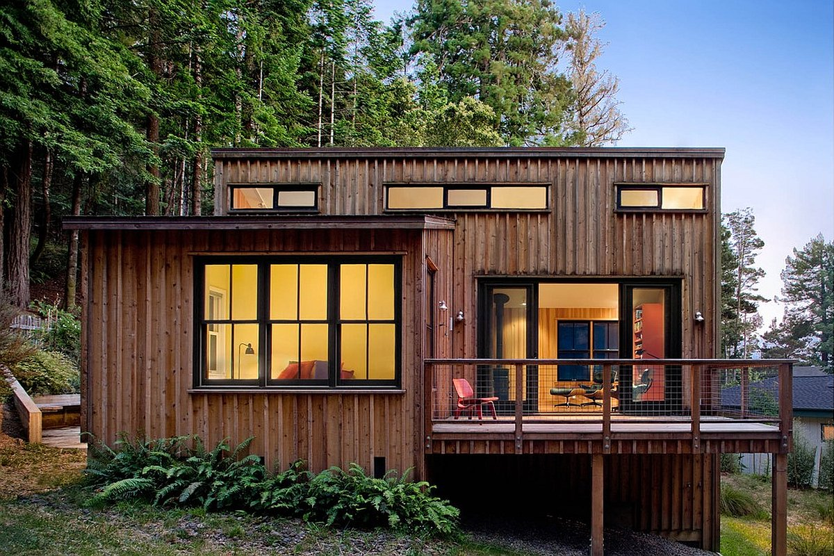 A cottage in the redwoods by cathy schwabe small house bliss for Modern cottage design plans