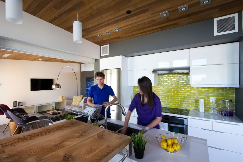 Solar Decathlon 2013 competitor Borealis was designed for housemates, with two private suites sharing a kitchen and bath. | www.facebook.com/SmallHouseBliss