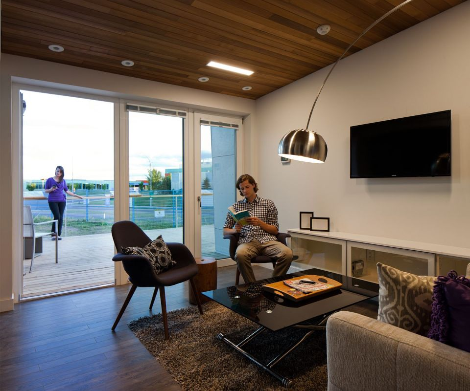 Solar Decathlon 2013 competitor Borealis was designed for housemates, with two private suites sharing a kitchen and bath.   www.facebook.com/SmallHouseBliss