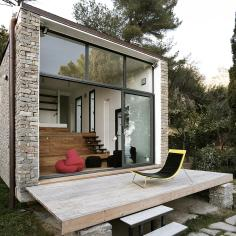 A 377 sq ft studio retreat in Italy with a stepped floor plan to follow the terraced site. | www.facebook.com/SmallHouseBliss
