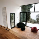 A 377 sq ft studio retreat in Italy with a stepped floor plan to follow the terraced site.   www.facebook.com/SmallHouseBliss