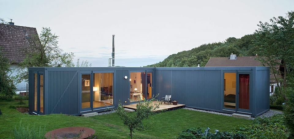shipping container house in germany modern colorful home decor. Black Bedroom Furniture Sets. Home Design Ideas