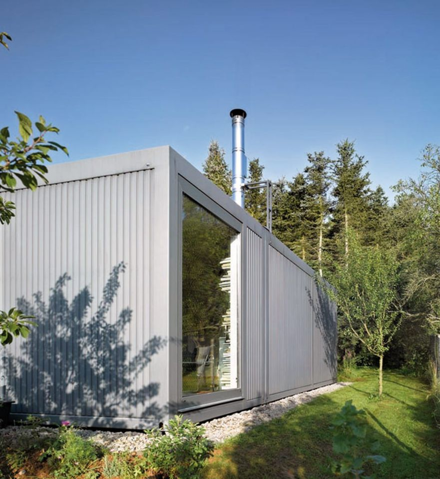 ContainerLove, a small house built from modules designed to resemble shipping containers. It has 2 bedrooms and room for a 3rd in about 969 sq ft.   www.facebook.com/SmallHouseBliss