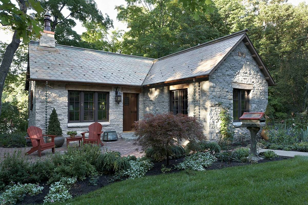 Fox hollow a new cottage built from antique materials for Stone cottage house plans