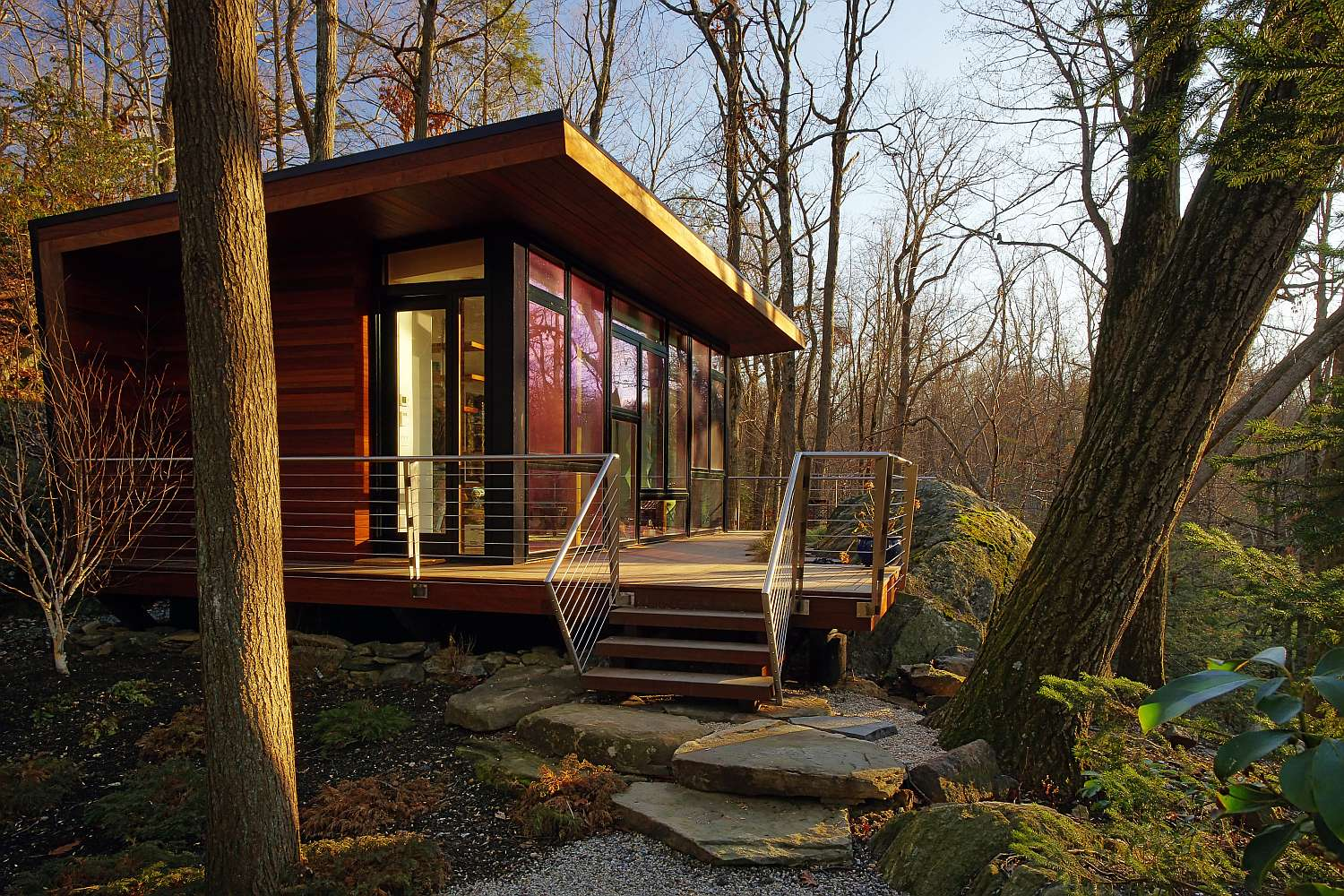 A modern studio retreat in the woods workshop apd for Building a small cabin in the woods