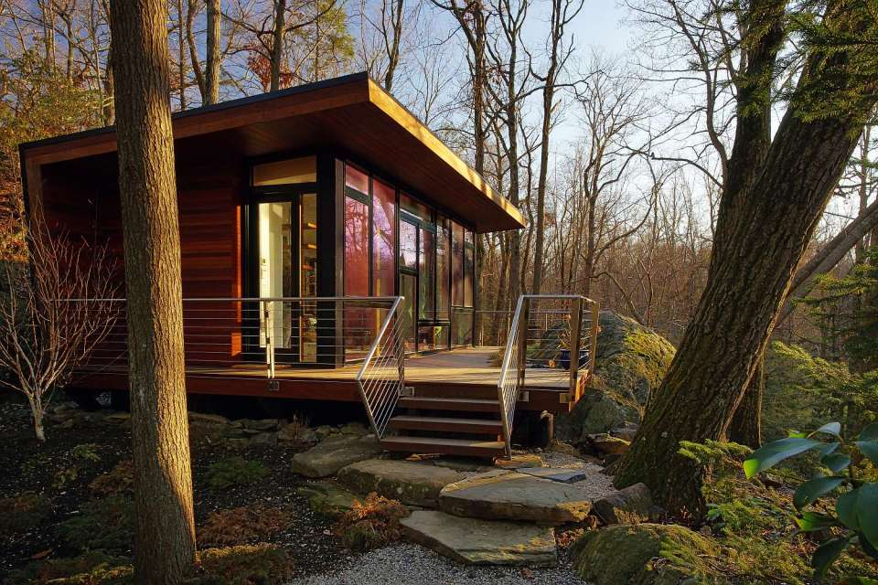 A 300 sq ft studio retreat in the woods designed for quiet contemplation. | www.facebook.com/SmallHouseBliss