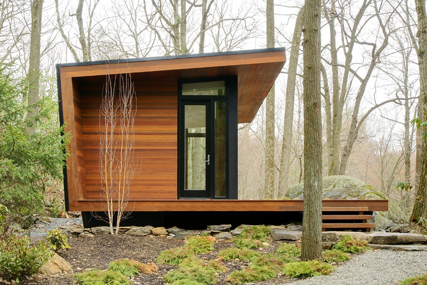 Gallery a modern studio retreat in the woods workshop for Small house exterior