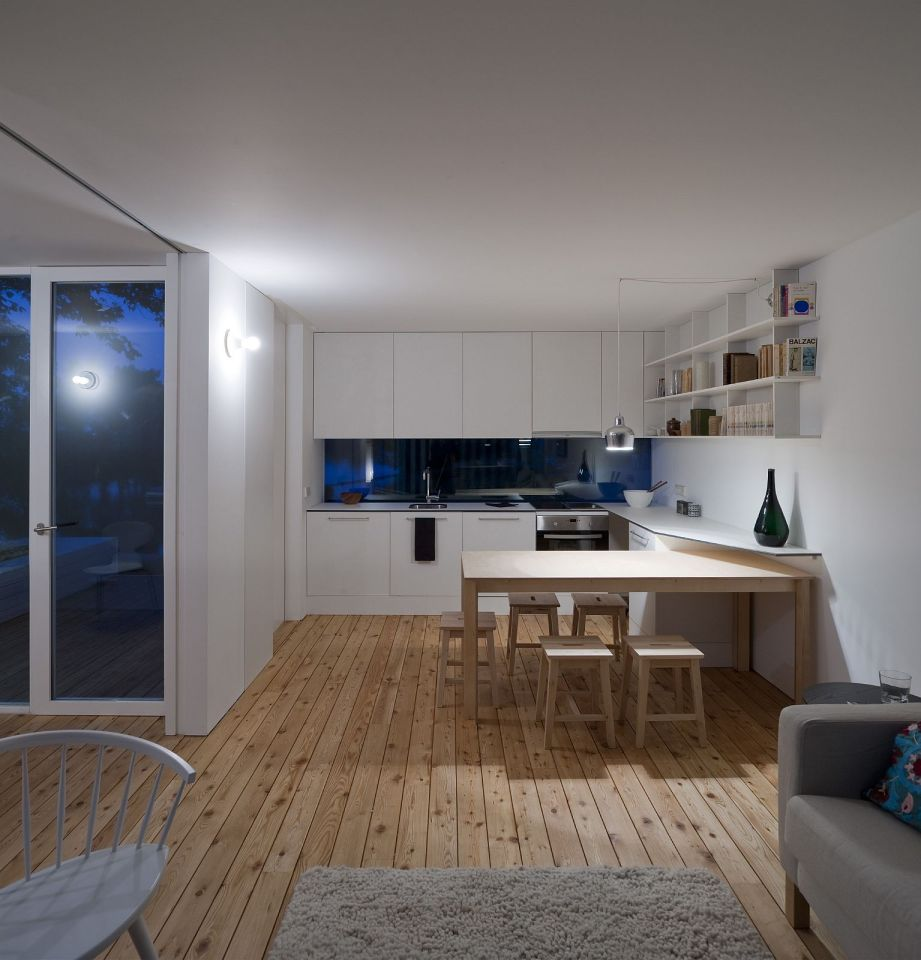 Treehouse Riga, a compact modular home with 2 bedrooms in just 474 sq ft. A sliding wall gives it a flexible floor plan.   www.facebook.com/SmallHouseBliss