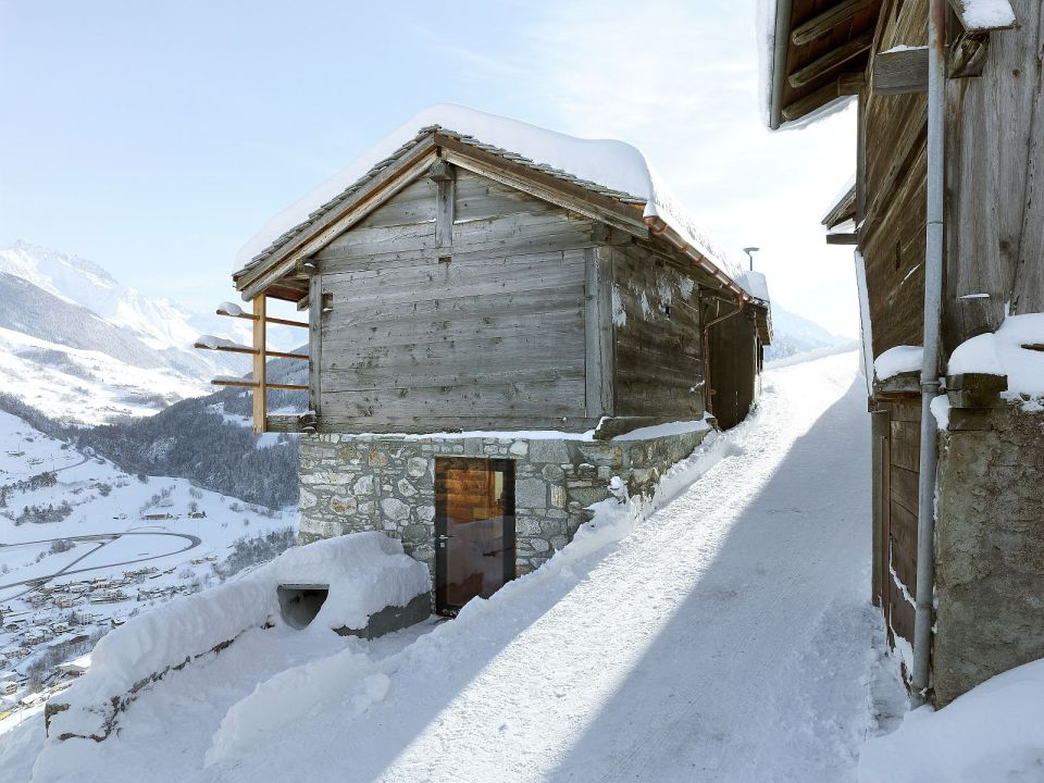 An old granary in a tiny Swiss hamlet was converted into this alpine cabin. It has 2 bedrooms in roughly 500 sq ft. | www.facebook.com/SmallHouseBliss