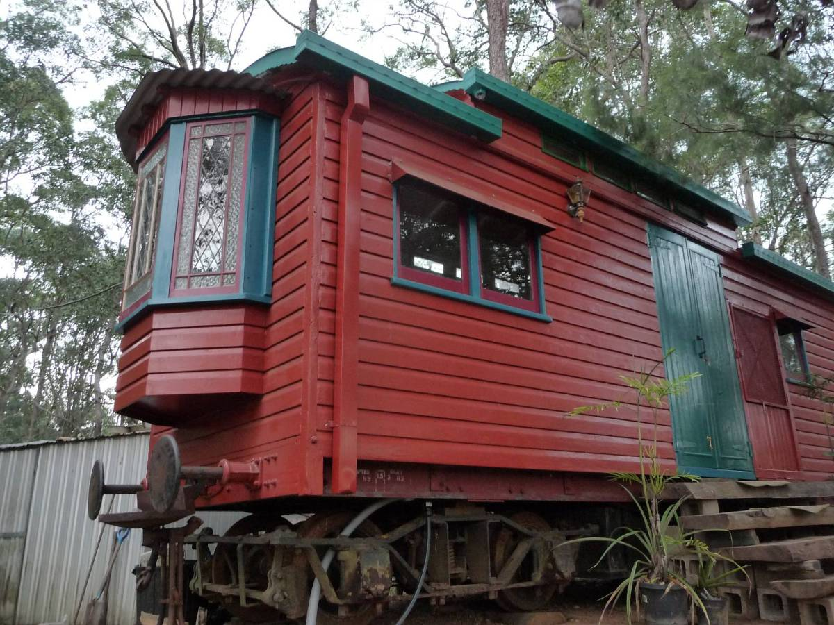 The little red train carriage small house bliss