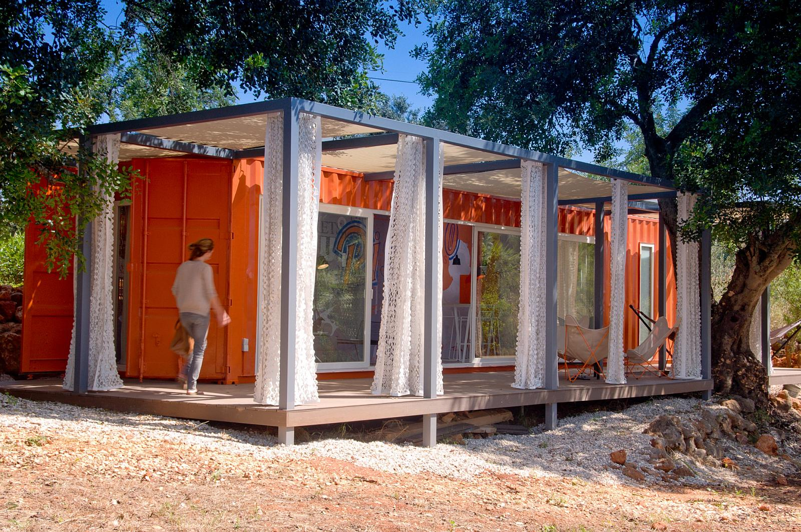 Nomad Living, A Shipping Container Guest House That Expands Out To A Shaded  Terrace.